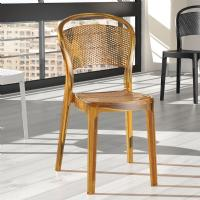 Bee Polycarbonate Dining Chair Transparent Amber ISP021-TAMB - 5