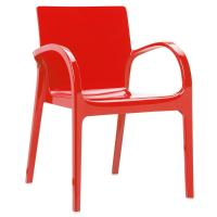 Dejavu Polycarbonate Arm Chair Red