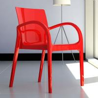 Dejavu Polycarbonate Arm Chair Red ISP032-GRED - 1