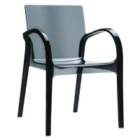 Dejavu Polycarbonate Arm Chair Transparent Black