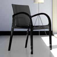 Dejavu Polycarbonate Arm Chair Transparent Black ISP032-TBLA - 3