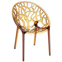 Crystal Polycarbonate Modern Dining Chair Transparent Amber ISP052-TAMB