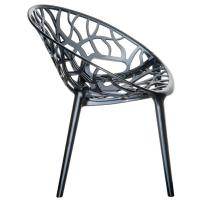Crystal Polycarbonate Modern Dining Chair Transparent Black ISP052-TBLA - 1