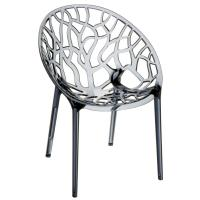 Crystal Polycarbonate Modern Dining Chair Transparent Smoke Gray
