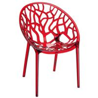 Crystal Polycarbonate Modern Dining Chair Transparent Red