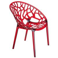 Crystal Polycarbonate Modern Dining Chair Transparent Red ISP052-TRED - 1