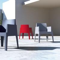 Box Outdoor Dining Chair Red ISP058-RED - 30