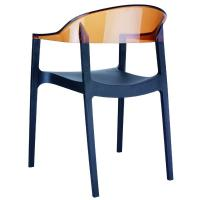 Carmen Dining Armchair Black with Transparent Amber Back ISP059-BLA-TAMB - 1
