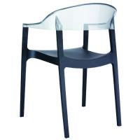 Carmen Dining Armchair Black with Transparent Back ISP059-BLA-TCL - 1