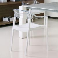 Carmen Dining Armchair White with Transparent Back ISP059-WHI-TCL - 5
