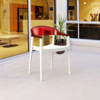 Carmen Dining Armchair White with Transparent Red Back ISP059-WHI-TRED - 7