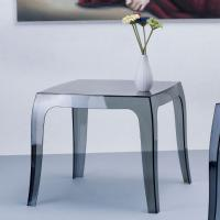 Queen Polycarbonate Square side Table Transparent Black ISP065-TBLA - 2