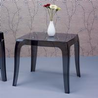 Queen Polycarbonate Square side Table Transparent Black ISP065-TBLA - 3
