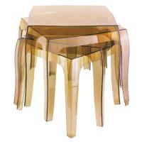 Queen Polycarbonate Square side Table Transparent Amber ISP065-TAMB - 4