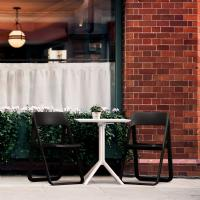 Dream Folding Outdoor Bistro Set with White Table and 2 Black Chairs
