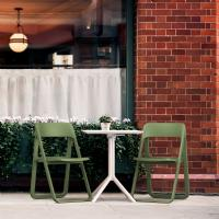 Dream Folding Outdoor Bistro Set with White Table and 2 Olive Green Chairs