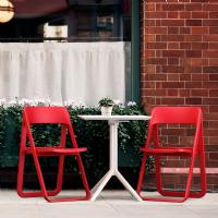 Dream Folding Outdoor Bistro Set with White Table and 2 Red Chairs