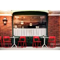 Dream Folding Outdoor Bistro Set with White Table and 2 Red Chairs ISP0791S-RED-WHI - 4