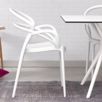 Mila Dining Arm Chair White ISP085-WHI - 5