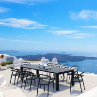 Mila Extendable Outdoor Dining Set 11 piece Black
