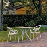 Mila Dining Set with 2 Arm Chairs White