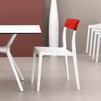 Flash Dining Chair White with Transparent Red ISP091-WHI-TRED - 5