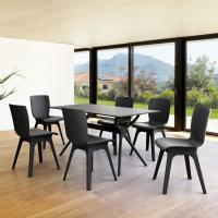Mio PP Modern Dining Set Black 7 Piece with 55 inch Air Table