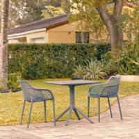 Air XL Patio Dining Set with 2 Arm Chairs Dark Gray