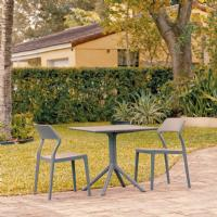 Snow Patio Dining Set with 2 Chairs Dark Gray