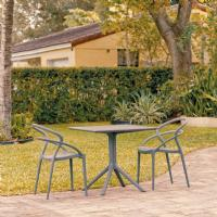 Pia Patio Dining Set with 2 Chairs Dark Gray