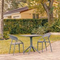 Sunset Patio Dining Set with 2 Chairs Dark Gray