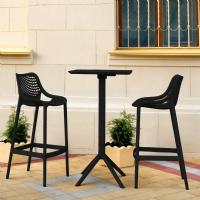 Sky Air Square Bar Set with 2 Barstools Black