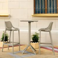 Sky Air Square Bar Set with 2 Barstools Taupe