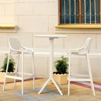Sky Air Square Bar Set with 2 Barstools White