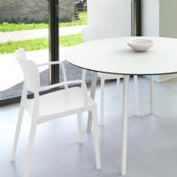 Lisa Patio Dining Set with White Chairs and White Maya Round Table 47 inch ISP126S5-WHI-WHI - 1