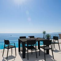 Loft Outdoor Dining Set with 6 Arm Chairs and 55 inch Extension Table Black