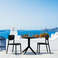Lucy Outdoor Bistro Set 3 Piece with 24 inch Table Top Black