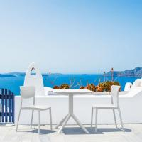 Lucy Outdoor Bistro Set 3 Piece with 24 inch Table Top White ISP1291S-WHI