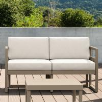Mykonos Loveseat Taupe with Sunbrella Natural Cushion ISP1312-DVR-CNA - 2