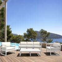 Mykonos 5 Person Lounge Set White with Sunbrella Natural Cushion