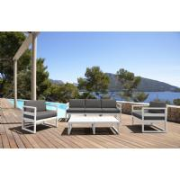 Mykonos 5 Person Lounge Set White with Sunbrella Charcoal Cushion ISP133-WHI-CCH - 4