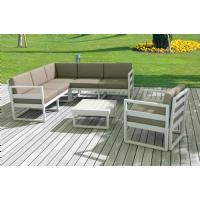 Mykonos Corner Sectional 5 Person Lounge Set White with Sunbrella Charcoal Cushion ISP134-WHI-CCH - 10