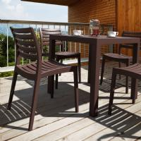 Ares Resin Outdoor Table 31 inch Square Brown ISP164-BRW - 3