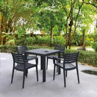 Ares Resin Outdoor Table 31 inch Square Brown ISP164-BRW - 8