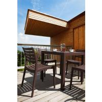 Ares Resin Square Outdoor Dining Set 5 Piece with Side Chairs Brown ISP1641S-BRW - 6