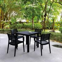 Artemis Resin Square Outdoor Dining Set 5 Piece with Arm Chairs Black