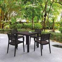 Artemis Resin Square Outdoor Dining Set 5 Piece with Arm Chairs Brown