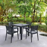Artemis Resin Square Outdoor Dining Set 5 Piece with Arm Chairs Dark Gray