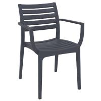 Artemis Resin Square Outdoor Dining Set 5 Piece with Arm Chairs Dark Gray ISP1642S-DGR - 1