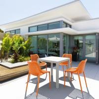 Air Mix Square Dining Set with White Table and 4 Orange Chairs